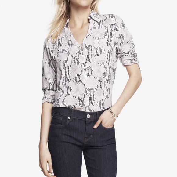 904015a1 Express Tops | Light Pink Snake Print Portofino Shirt | Poshmark